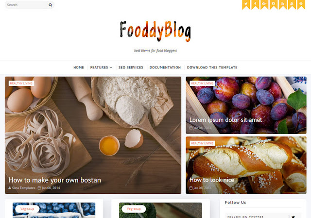 Download  Fooddy Blogger Template