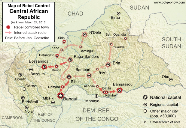 Map of 2012-2013 rebellion in the Central African Republic, showing current rebel control as of March 24, 2013, from the breakdown of the ceasefire up to the capture of the national capital city, Bangui