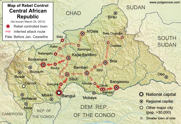 Central African Republic civil war: Map of Séléka's advance into capital city Bangui in March 2013