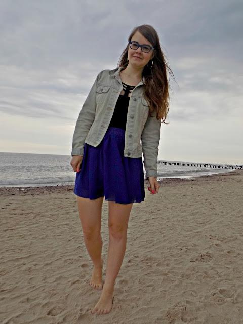 Kobaltowa spódnica+ bluzka ze strapsami | MIELNO