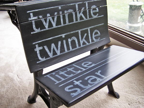 Twinkle Twinkle little sweet chalkboard schoolhouse bench, by Bad Rabbit Vintage, featured on Funky Junk Interiors