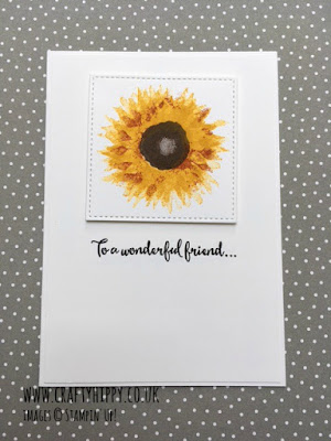 Create this simple and stunning sunflower card made with the Painted Harvest stamp set by Stampin' Up!