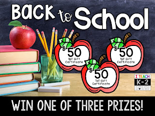 Back to School Giveaway!  3 $50 TPT Gift Certificates are up for grabs!