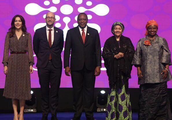 Crown Princess Mary wore a flover print midi shirt dress, Gianvito Rossi pumps and carried Prada bag at Nairobi Summit