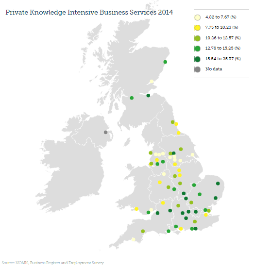 the high productivity knowledge businesses are found in the south