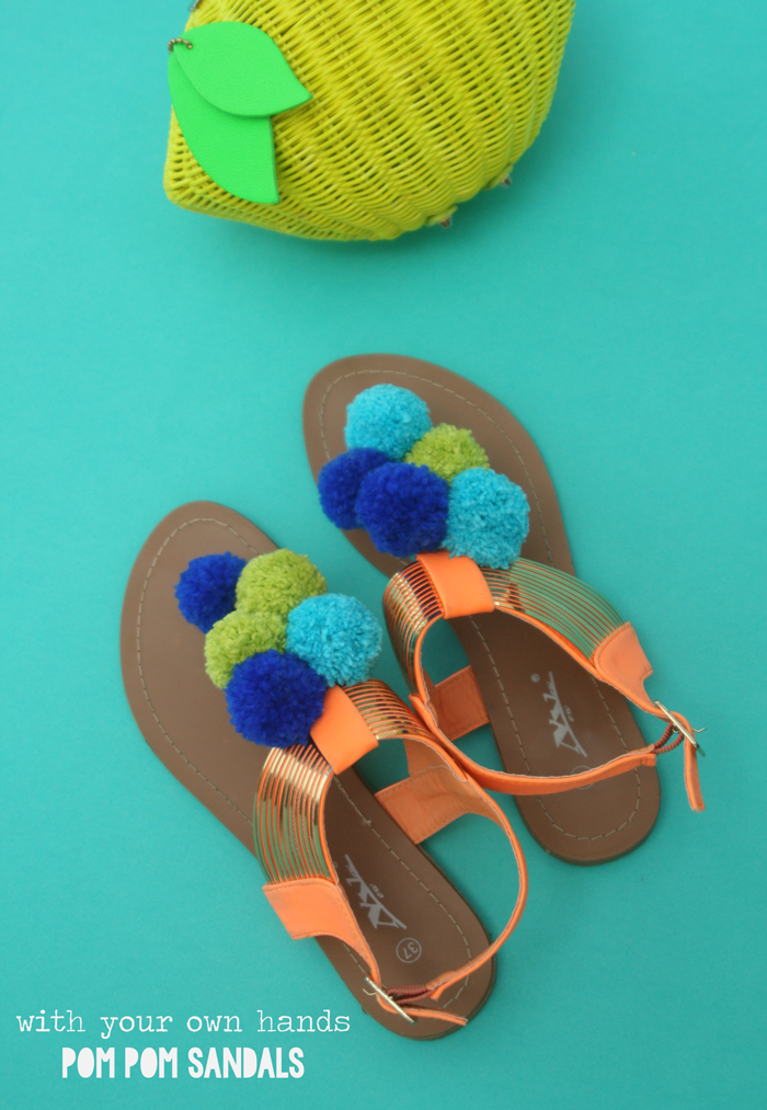 La lil with your own hands pom pom sandals for Do it yourself pom poms
