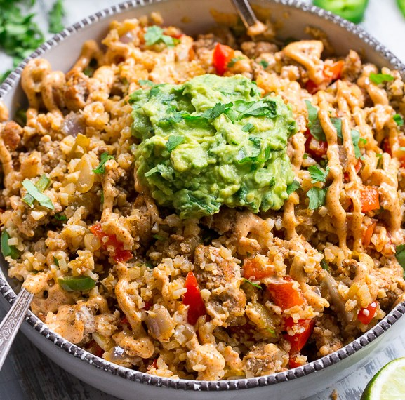 Mexican Cauliflower Fried Rice {Paleo, Whole30, Keto} #ketogenicdiet #healthyfood