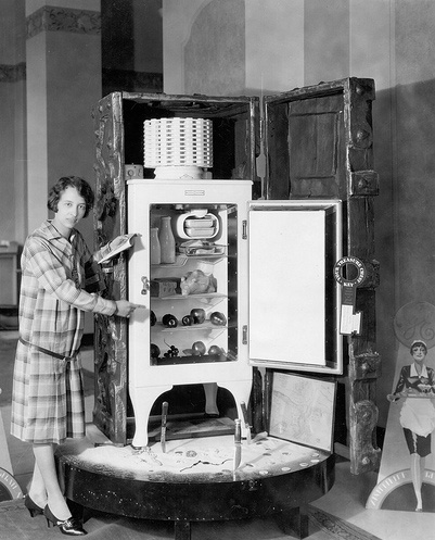 1930s refrigerator demonstration including enormous packing trunk. Oh Wait and other stories of the Refrigerator. marchmatron.com