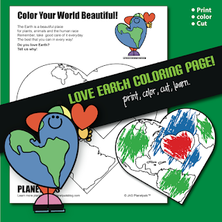 I LOVE EARTH Holiday Coloring Page Activity & Poem Valentine's Day or Earthday