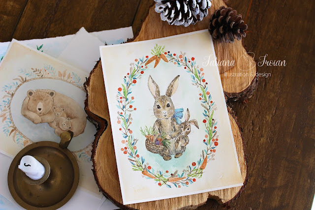 watercolour print illustration with bunnies for nursery
