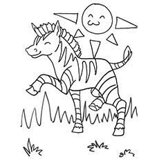 The Happy Baby Zebras On Forest Coloring Pages
