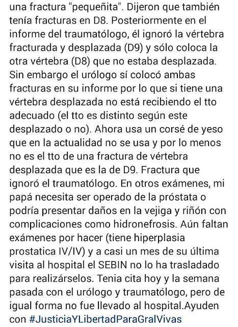 Hija del general Ángel Vivas denuncia que su padre no tiene asistencia médica
