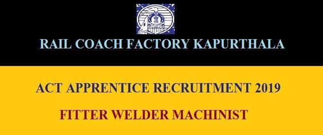 Rail Coach Factory Job Application 2019