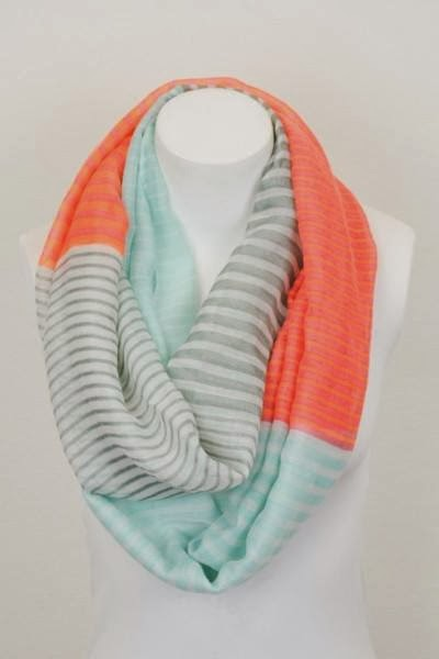 Aqua, salmon & grey scarf as colour inspiration