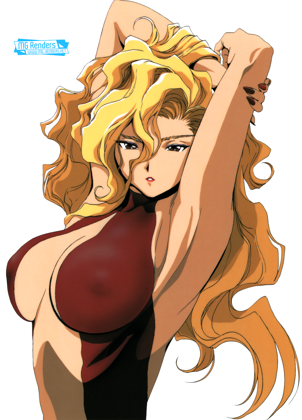 Tags: Render, Armpit, Arms up, Bare shoulders, Blonde hair, Cleavage, Dress, Erect nipples, Golden Boy, Large Breasts, Madam President