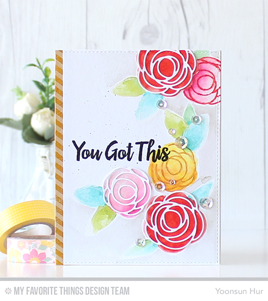You Got This Card by Yoonsun Hur featuring the Encouraging Words stamp set, The Lisa Johnson Design Scribble Roses stamp set and Scribble Roses Overlay Die-namics #mftstamps