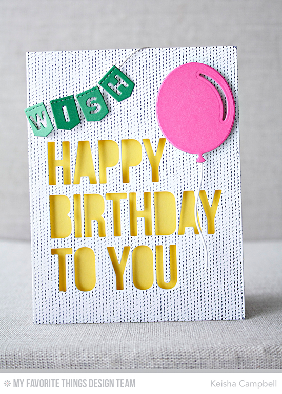Handmade card from Keisha Campbell featuring Scattered Surface Background stamp, Big Birthday Balloons, Happy Birthday to You and Laina Lamb Design Stitched Banner Alphabet Die-namics #mftstamps