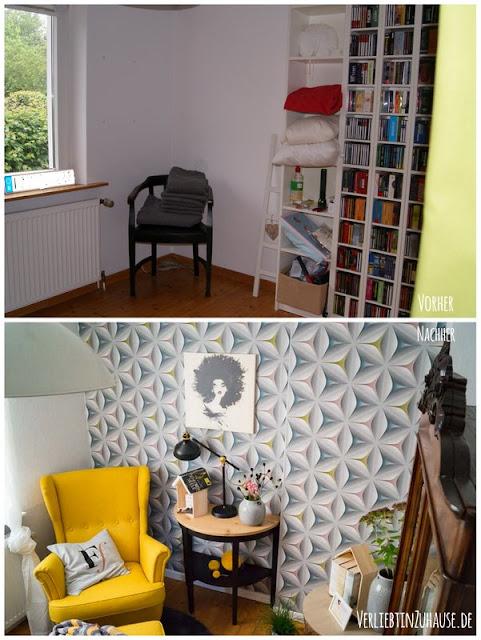 Vorher und Nachher Bilder: Ein komplettes Zimmer Umstyling mit renovieren, streichen, tapezieren und einrichten