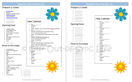 Family Vacation 101: Meal Calendar and Food Packing List - Our Out ...