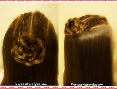 Double dutch braids with braided bun hairstyle.
