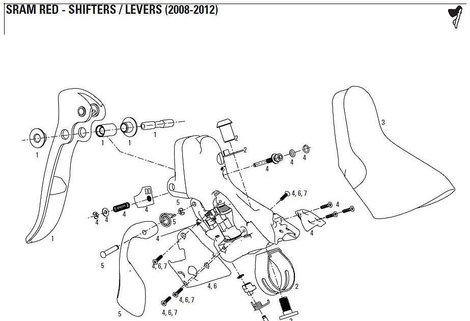 bikeresource: 2008-2012 SRAM Red Shifter Parts Diagram