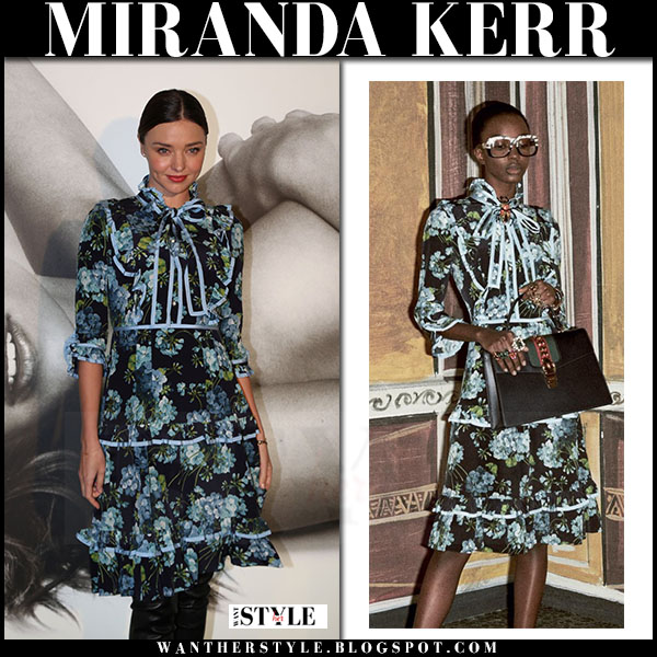 Miranda Kerr in black and blue floral print dress gucci what she wore