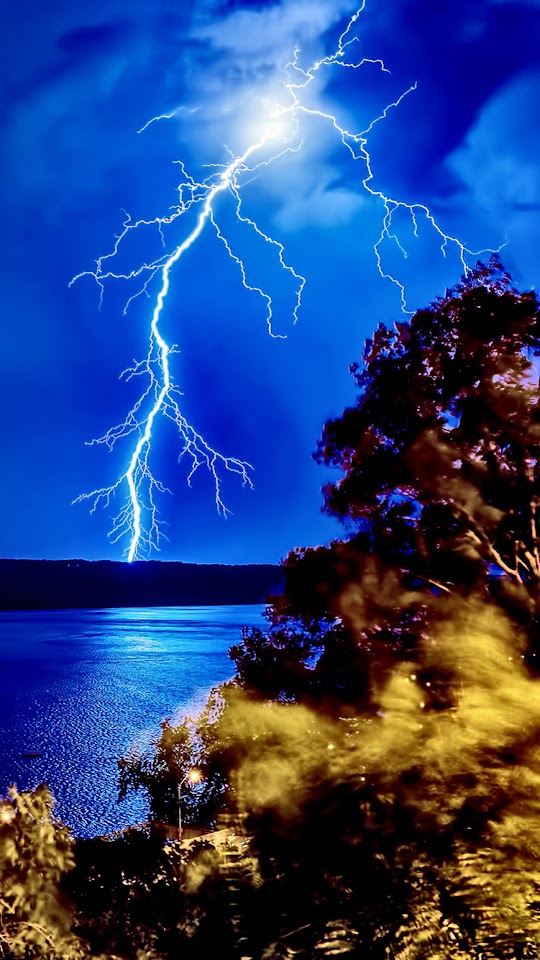 Lightning Strike Forest Lake  Galaxy Note HD Wallpaper