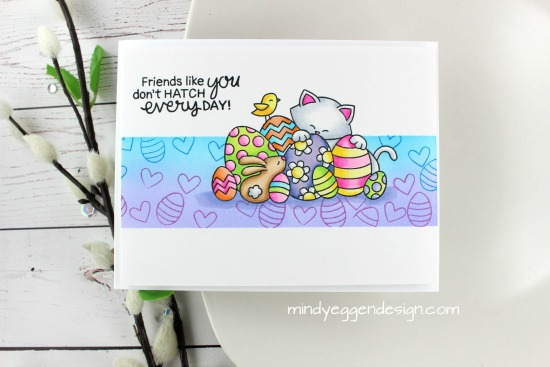 Easter Kitty Card by March Guest Designer Mindy Eggen | Newton's Easter Basket Stamp Set by Newton's Nook Designs #newtonsnook #handmade