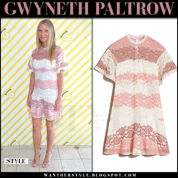 Gwyneth Paltrow in pink and white lace mini Burberry dress what she wore july 5 2017 red carpet outfit