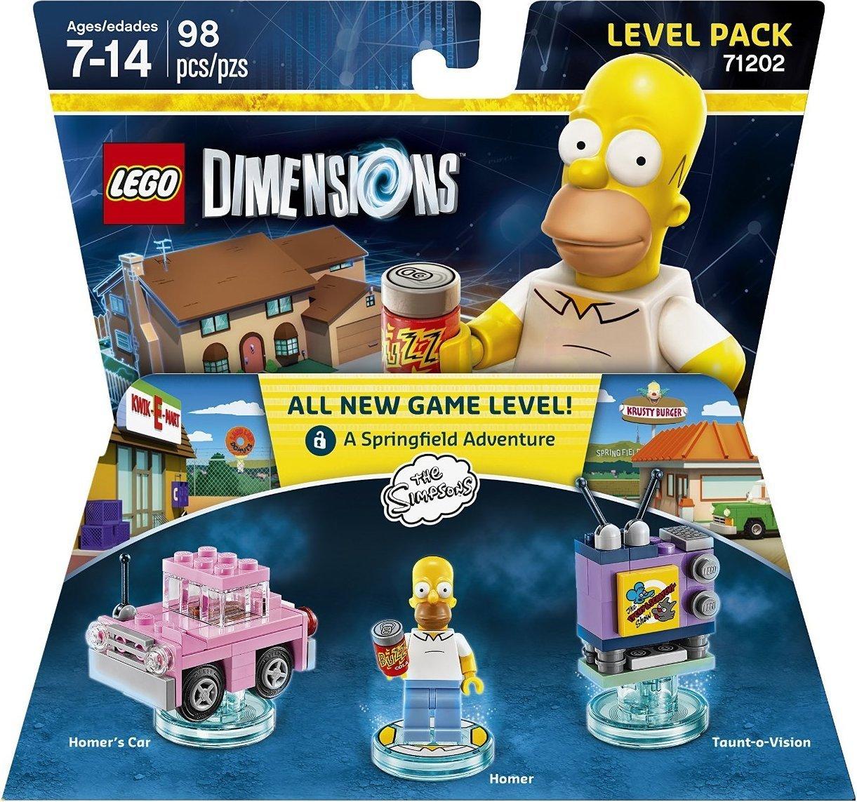 New Lego City Homer Simpson Minifig Minfigure w// New Custom Pink Car
