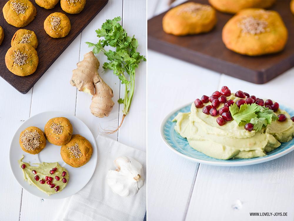 Rezept Süßkartoffel Falafel mit Ginger Beer und Avocado Granatapfel Dip