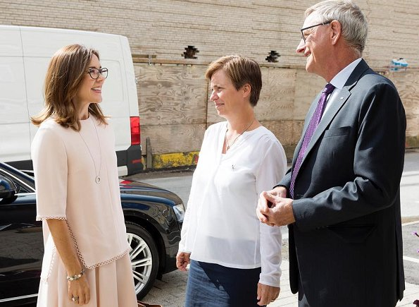 Crown Princess Mary wore a Zara pink blouse and skirt, Gianvito Rossi pumps and Marianne Dulong Esme Earrings
