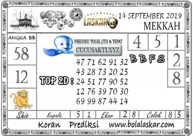 Prediksi Togel MEKKAH LASKAR4D 14 SEPTEMBER 2019