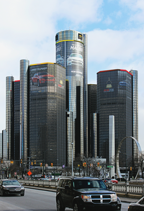 downtown detroit michigan gm hq