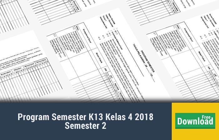Program Semester K13 Kelas 4 2018 Semester 2