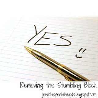 piece of lined paper with the word YES, a smiley face, and a gold pen; Removing the Stumbling Block
