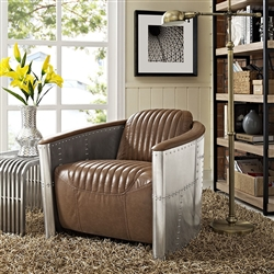 Brown Leather Armchair with Metal Sides