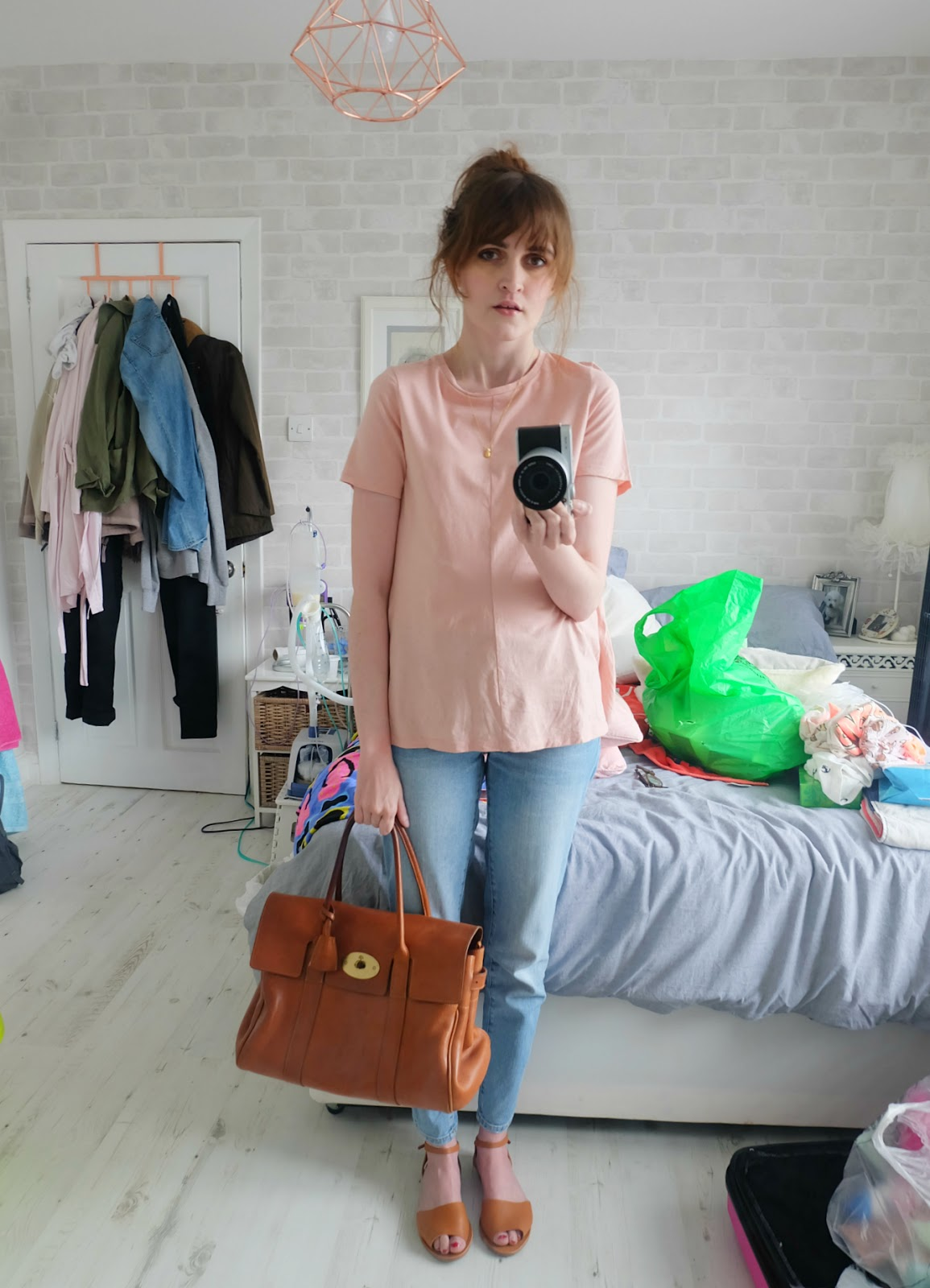 Zara embroidered jeans, asos swing t-shirt, mulberry bayswater bag