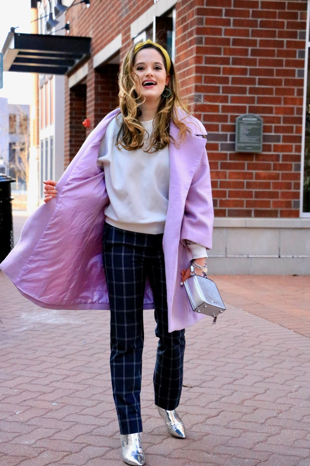 Nyc fashion blogger Kathleen Harper's checkered pants outfit