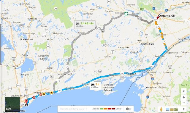 Viagem de carro de Ottawa a Toronto