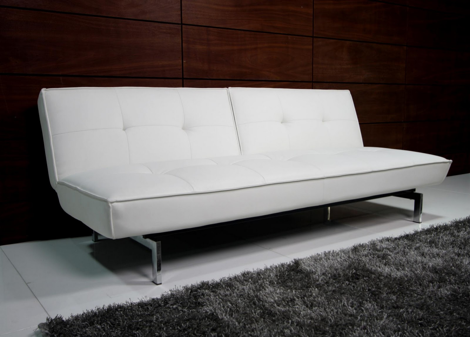 Belle Faux Leather Convertible Futon Sofa Bed White Belle