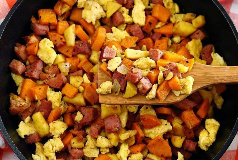 http://paleonewbie.com/ham-apple-sweet-potato-scramble-recipe/