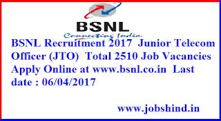 BSNL Recruitment 2017 Mein 2510 JTO Posts ke Liye Apply Online