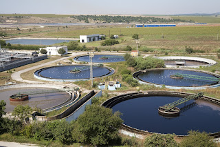 aerial view wastewater treatment plant settling ponds