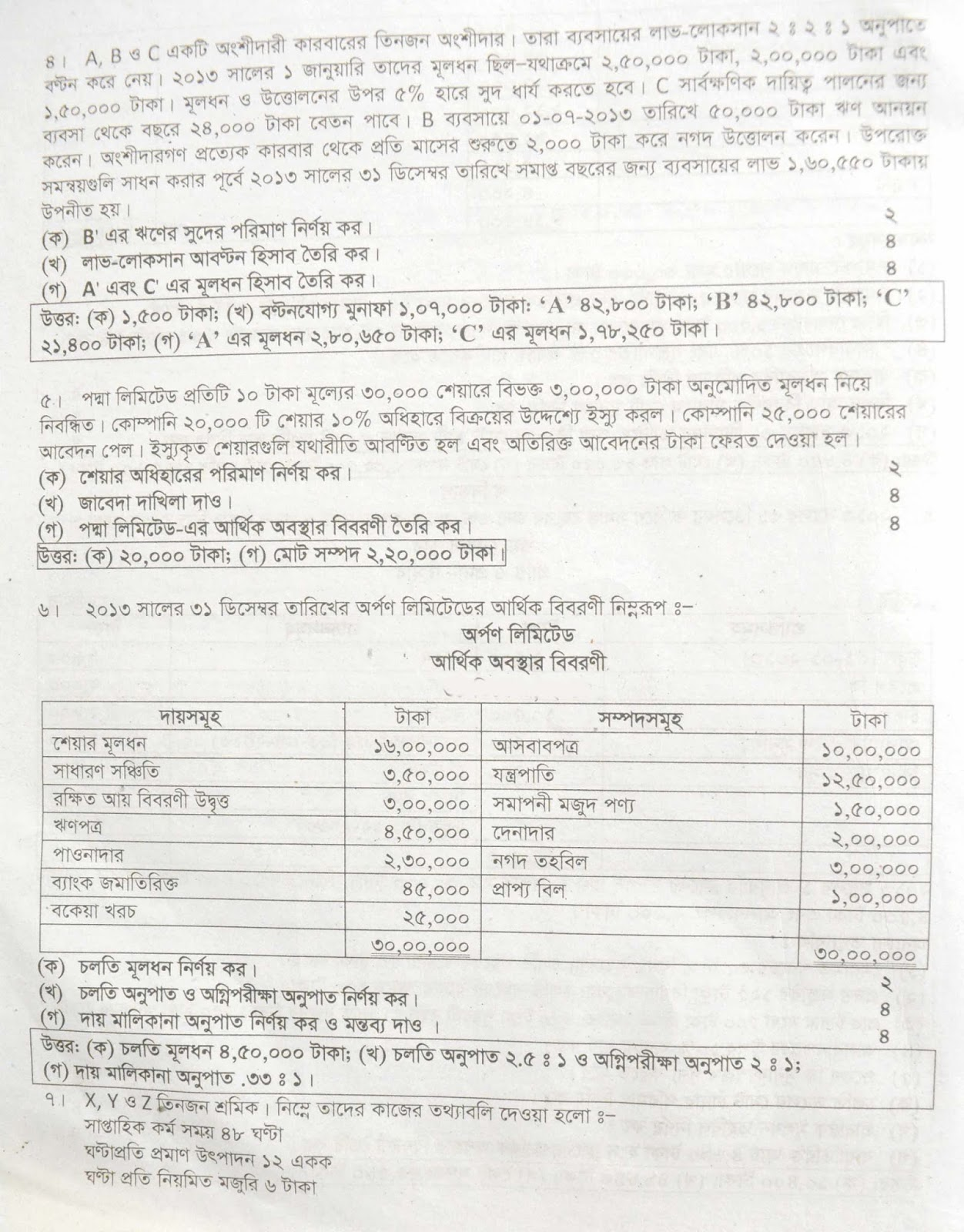 hsc Accounting 2nd Paper suggestion, exam question paper, model question, mcq question, question pattern, preparation for dhaka board, all boards