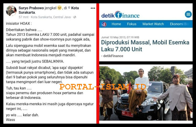 Jebret!!! Letjen (Purn) Suryo Prabowo: Inisiator Hoax Bermula dari ESEMKA