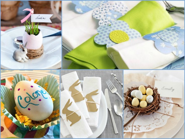 Easter place cards and napkin ring ideas featured on Walking on Sunshine to help you set a pretty table.
