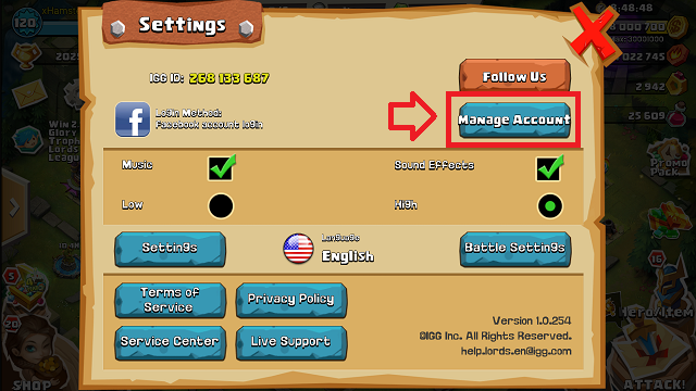 Manage Accont Clash of Lords 2