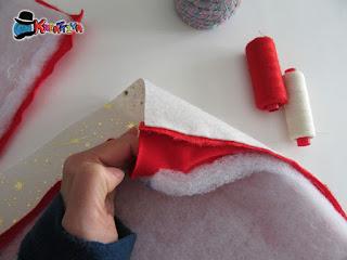 cucire la parte rossa e bianca prima del montaggio imbottitura