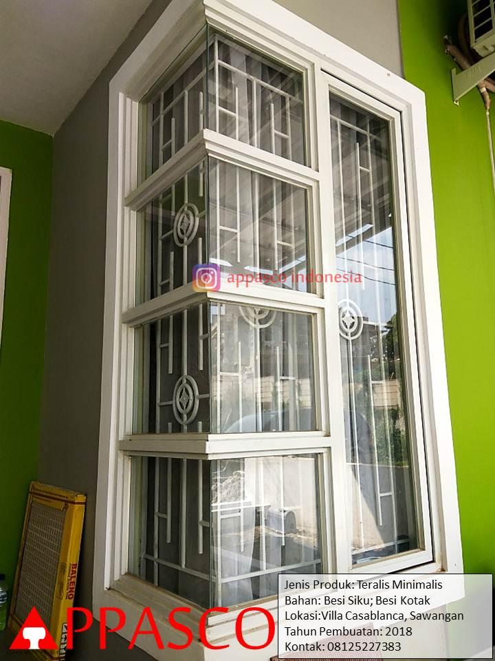 Teralis Jendela Minimalis Pada Jendela Sudut di Villa Casablanca Sawangan